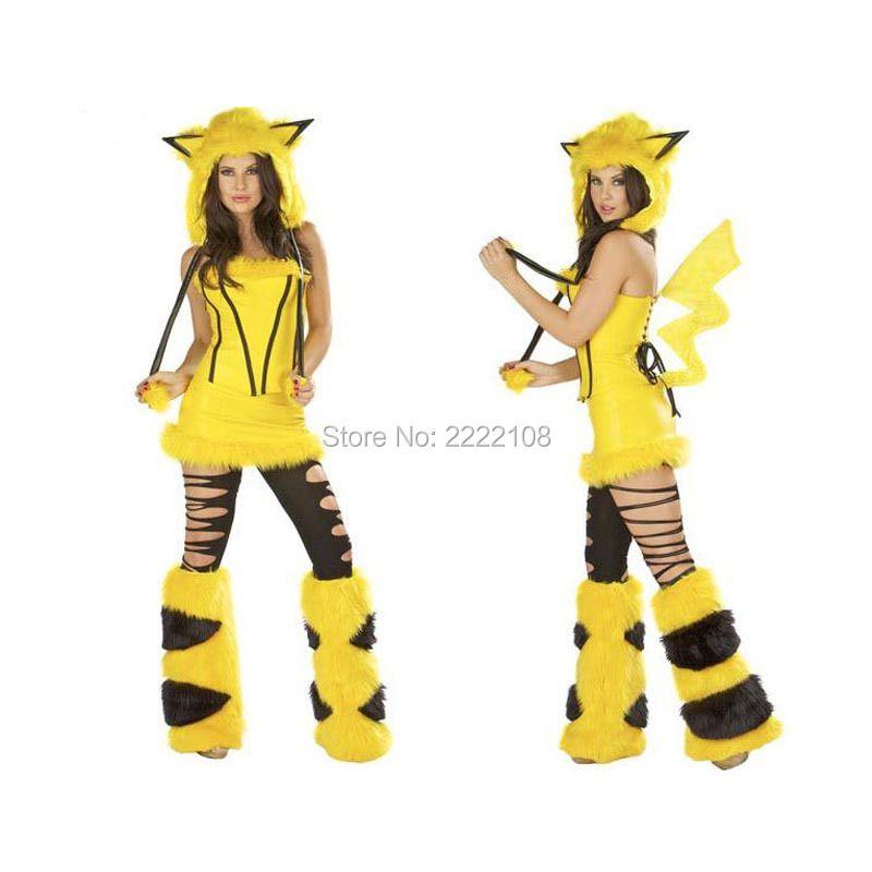 Pokemon Pikachu Anime Mignon Pour Fille Femmes Sexy Cosplay de Dessin Animé Costume De Mascotte Adulte Salopette De Noël halloween costume Femmes