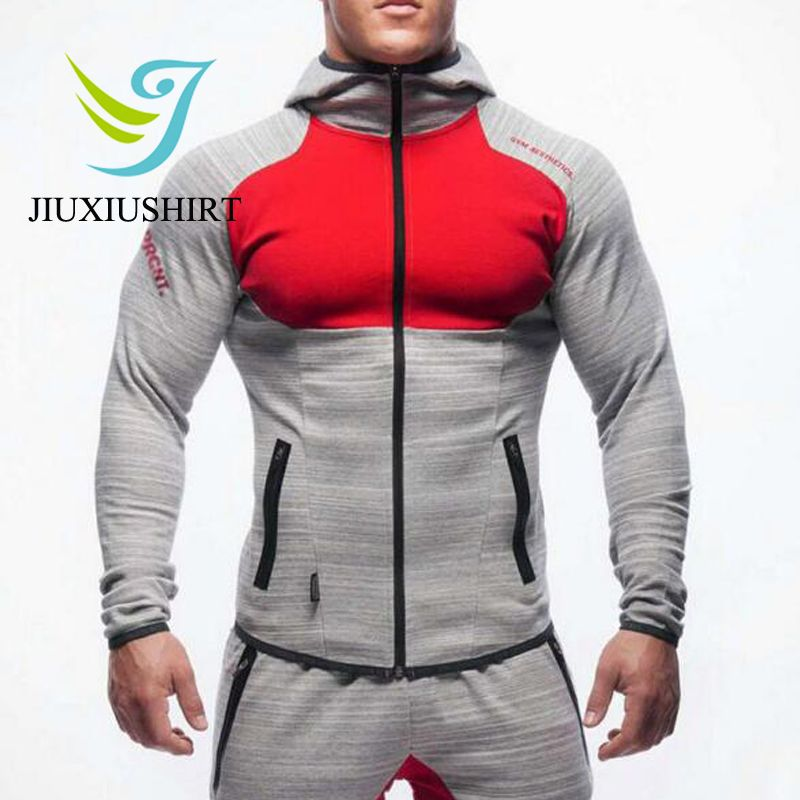 Muscle Men Compression Sport Suit Hooded Fitness Tights Skins basketball Shirts Pants For Gym Zipper Running Sets 2 pcs Dry Fit
