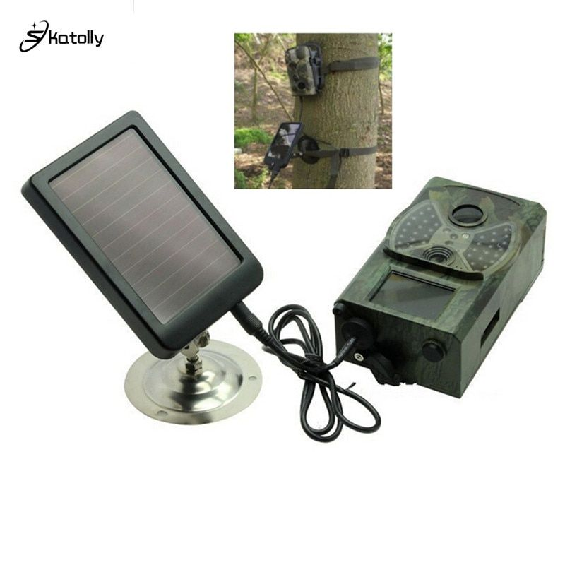 Skatolly Outdoor Solar Panel Charger US/EU Plug Hunting Trail Camera Charger For Suntek HC-300M HC300 HC-500m Hunting Camera