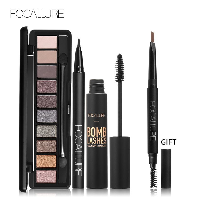 Buy 3 Get 1 Gfit FOCALLURE Eyeshaodow Palette Black Color Mascara Liquid Eyeliner Pencil with Eyebrow