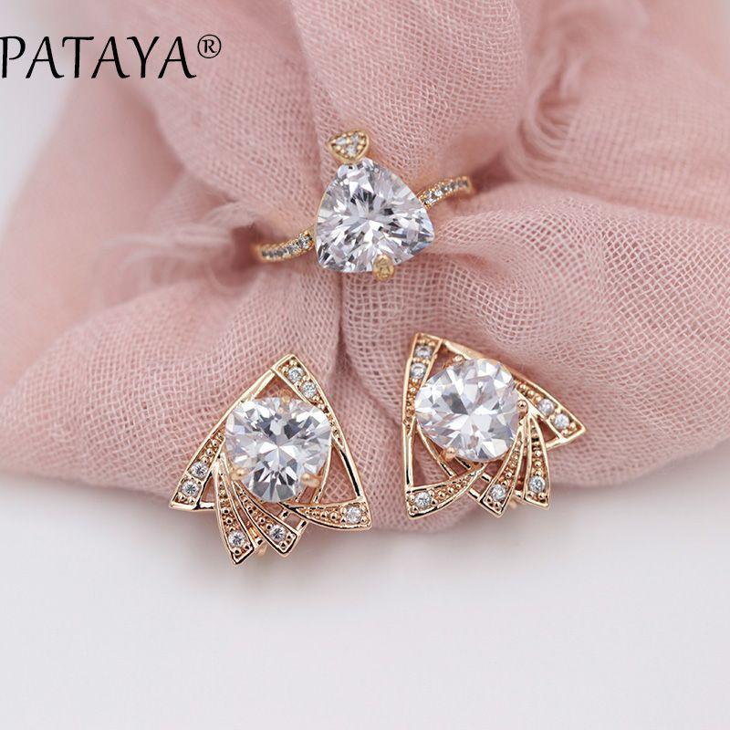 PATAYA New High Guality 585 Rose Gold Earrings Rings Sets Original Heart Love Triangular White Natural Zircon Women Fine Jewelry