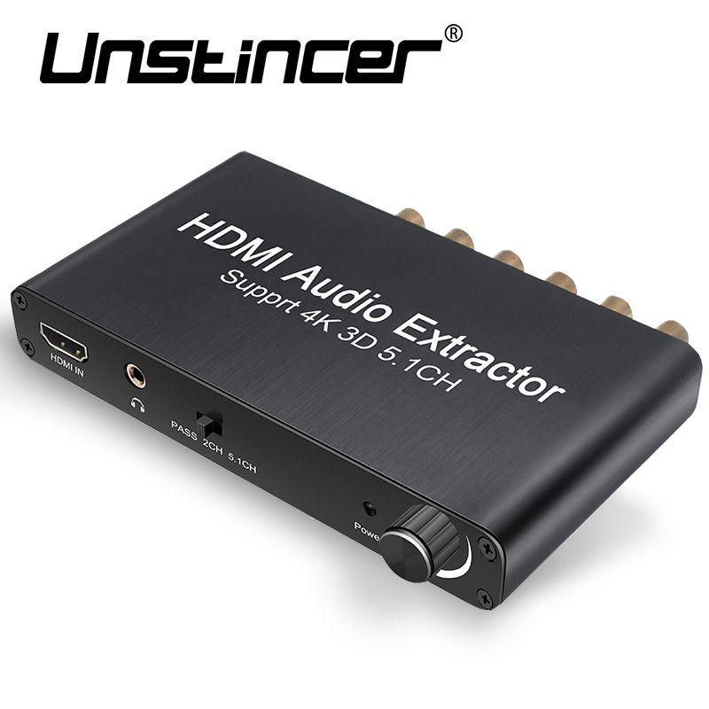 UNSTINCE 5.1 Decodificador de Audio Convertidor de HDMI Decodificación Dolby AC-3 Amplificador con HDMI a HDMI Video Audio Extractor para Apple TV PS4