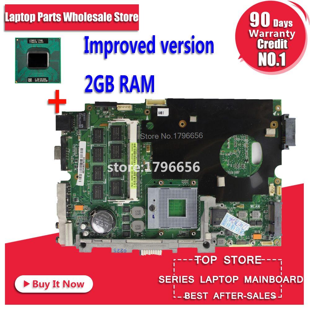 Stable qualité! Envoyer cpu + avec 2 GB RAM pour asus K40IN K40IP K50IN K50IP K50AB K40AF K50AF K40AB K40AD K50AD ordinateur portable carte mère