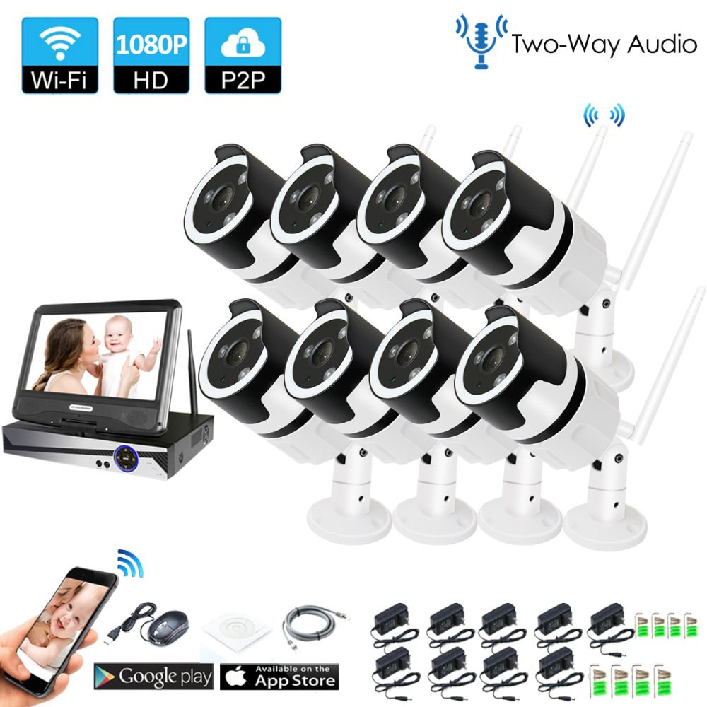 8CH two way audio talK HD Wireless LCDNVR Kit P2P 1080P Indoor Outdoor IR Night Vision Security 2.0MP IP Camera WIFI CCTV System
