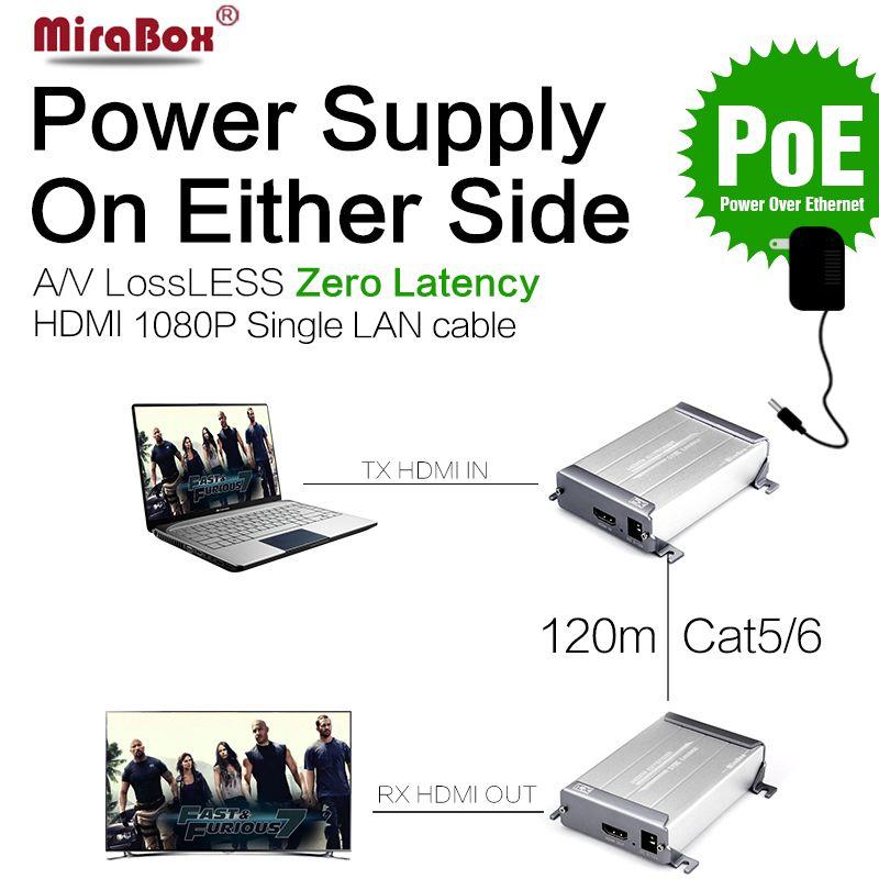 HSV378 1080P Lossless HDMI Extender Over Cat5/Cat5e/Cat6 No Delay Lossless HDMI Extender Support Up To 120m Transmitter Receiver
