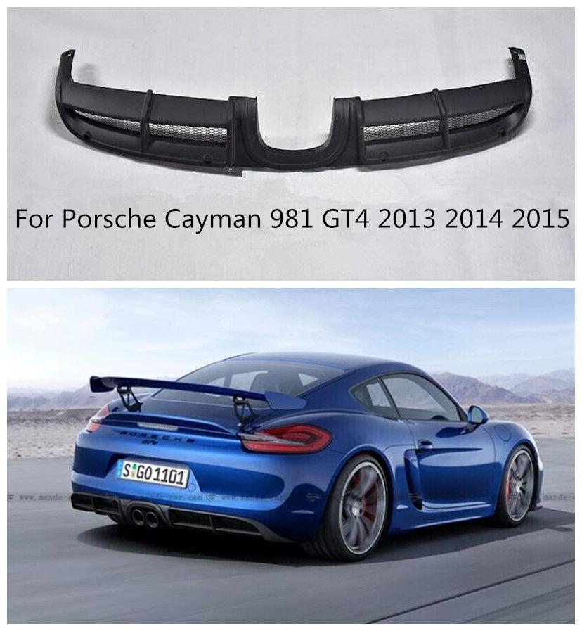ABS Schwarz Primer Auto Hinten Stoßstange Spoiler Lippe, auto Hinten Stoßstange Diffusor Fit Für Porsche Cayman 981 GT4 2013 2014 2015 DURCH EMS