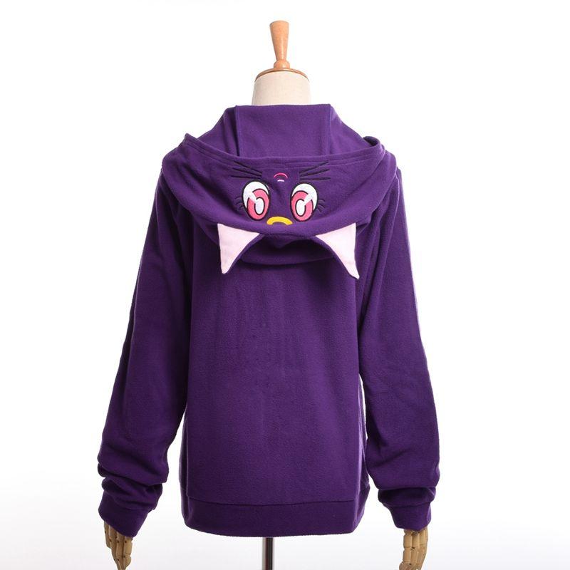 Anime Sailor Moon À Capuche Femmes Bande Dessinée Occasionnel Luna Chat Oreilles À Capuche En Molleton Manteau Fermeture Éclair Sweat Veste Outwear Blanc/Violet