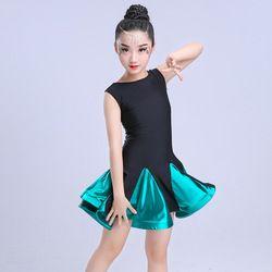 Gaun untuk gadis spandex rok tari latin anak Pakaian Kostum Rumba Samba Salsa Tango Ballroom Dancing Dresses Untuk Anak-anak