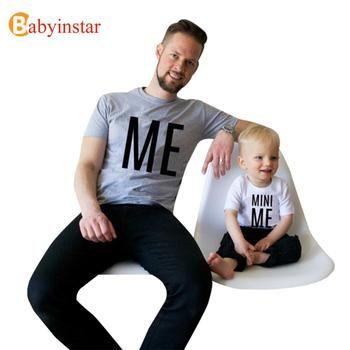 Intéressant Motif t-shirt Pour Père Fils Correspondant Vêtir Papa enfant mini Me Petit Grand Homme D'été Tops Famille Correspondant tenues