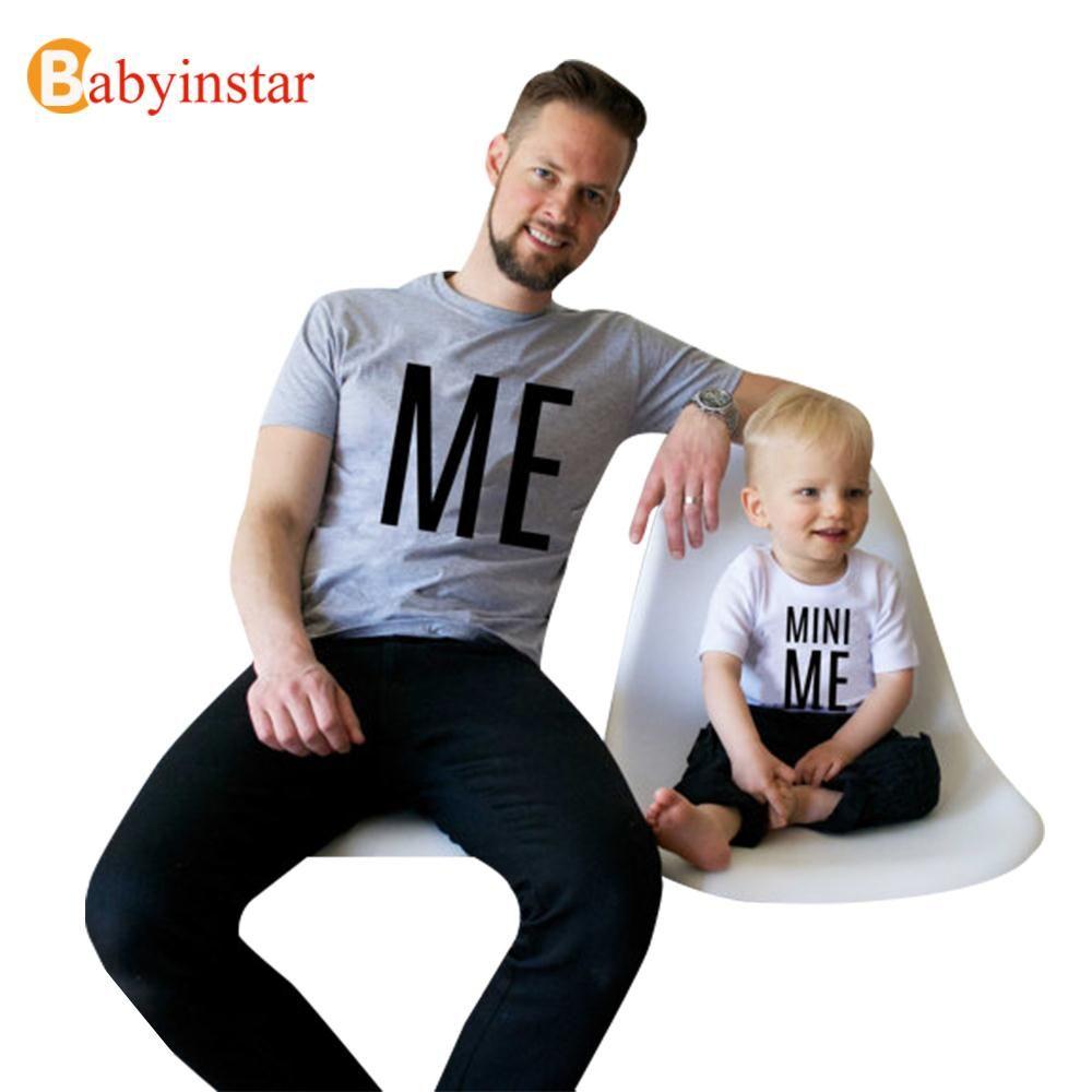 Intéressant motif t shirt pour père fils correspondant Clothe papa enfant mini moi petit grand homme été hauts famille correspondant tenues