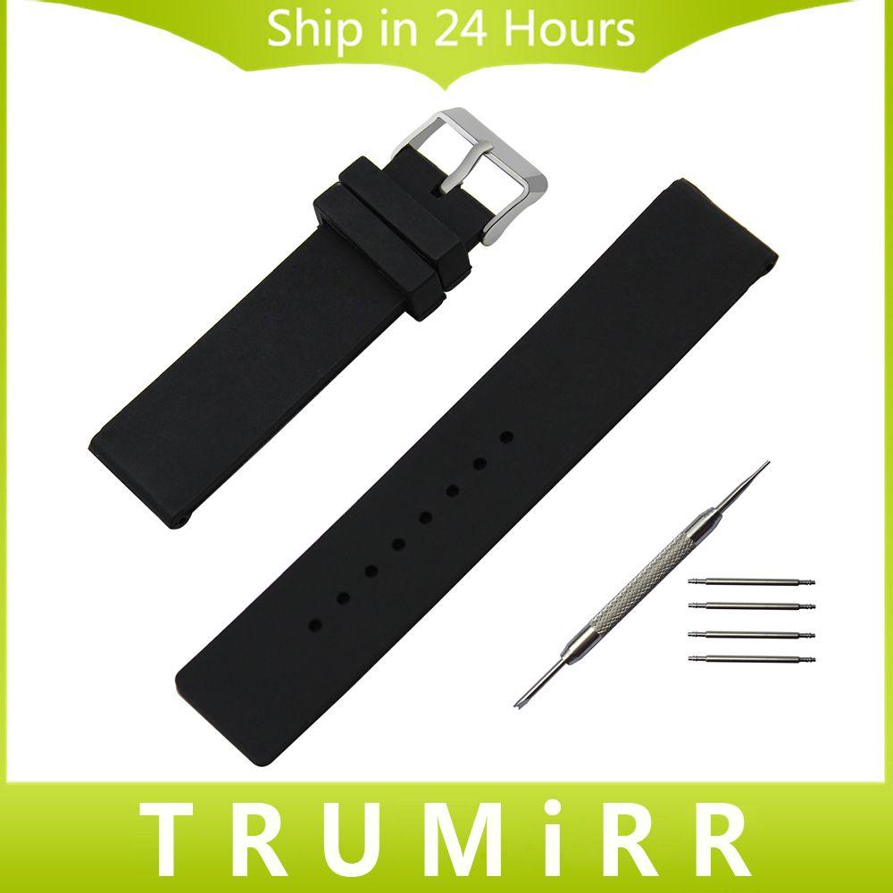 Silicone Bracelet En Caoutchouc 24mm pour Sony Smartwatch 2 SW2 Smart Watch Bande En Acier Inoxydable Boucle Bracelet Bracelet Noir