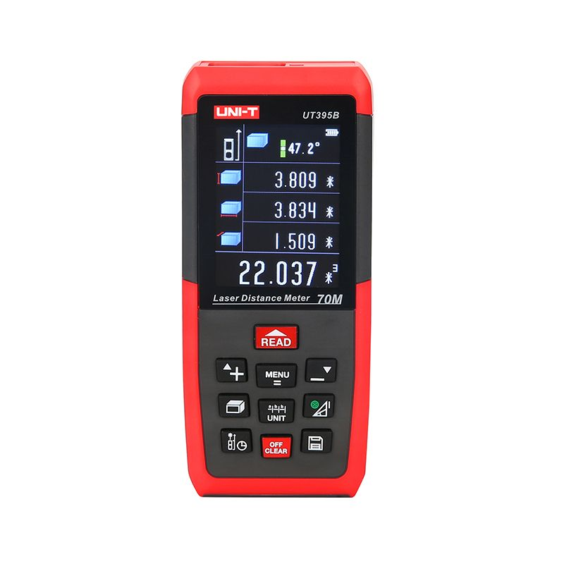 UNIT UT395B Laser Distance Meters 70 Metre Triangle Area Continuous Measure Data Storage USB Connector Rangefinder