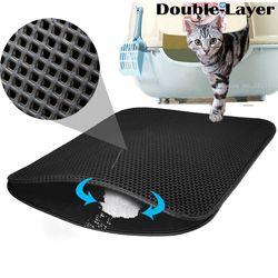 Pequeño mediano grande impermeable colchoneta gato camada Pad negro gatos camada cazador doble capa antideslizante EVA proteger alimentación Floor Mats