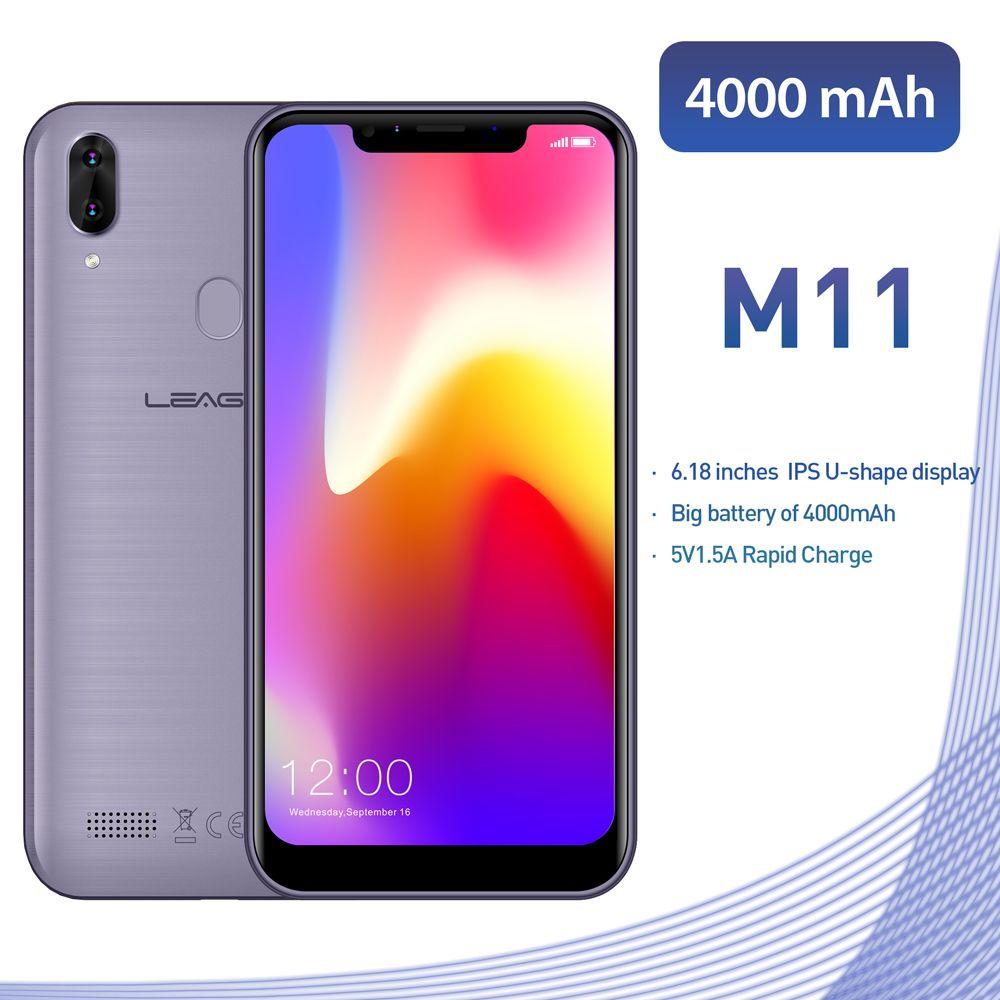 Téléphone portable d'origine avec empreinte digitale LEAGOO M11 4G 6.18 double SIM Android 8.1 Quad Core 2 GB RAM 16 GB ROM 4000 mAh Smartphone avec identification faciale