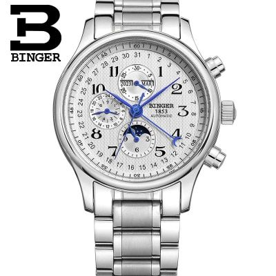 Binger New Black Men's Skeleton WristWatch Stainless steel Antique Steampunk Casual Automatic Skeleton Mechanical Watches Male