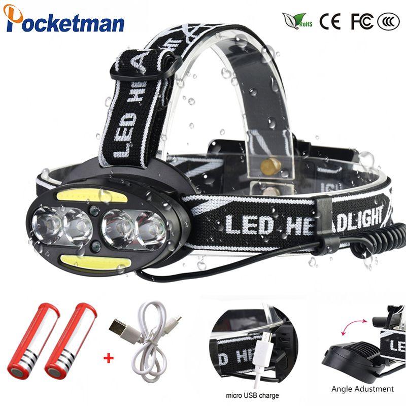 Scheinwerfer 40000 Lumen scheinwerfer 4 * XM-L T6 + 2 * cob + 2 * Rote LED Kopf Lampe Taschenlampe taschenlampe Lanterna mit batterien ladegerät z91