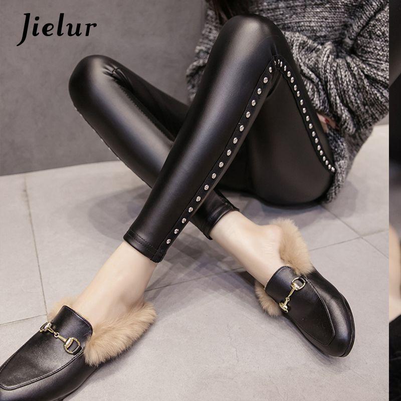 Jielur New Winter Fleece <font><b>Matte</b></font> PU Leather leggings Women Fashion Rivets Push Up Pencil Pants 4 Colors S-XXL Slim Lady Leggins
