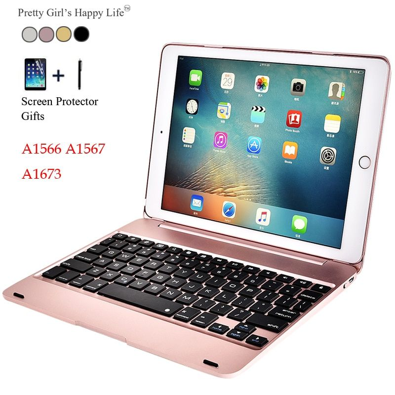 For iPad Air 2 Wireless Bluetooth Keyboard Case For iPad Air 2 A1566 A1567 Tablet Flip Cover For iPad Pro 9.7 2016 A1673+Stylus