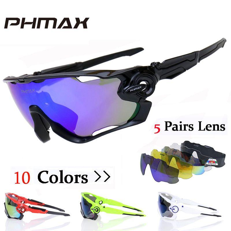 PHMAX Polarized Cycling SunGlasses Mountain Bike Goggles 5 Lens UV400 Cycling Eyewear Bicycle Sunglasses Cycling Glasses 2018
