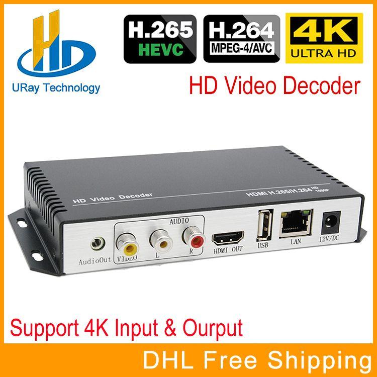 H.265 H.264 Ultra HD 4 karat Video Audio Decoder IP Streaming Decoder IP Zu HDMI + CVBS AV Unterstützung 4 karat Ausgang Für Dekodierung Encoder