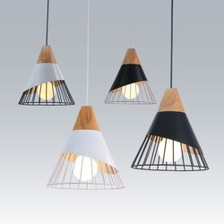 Pendiente lámparas luces colgantes de madera y aluminio restaurante Bar café comedor LED colgante Luz