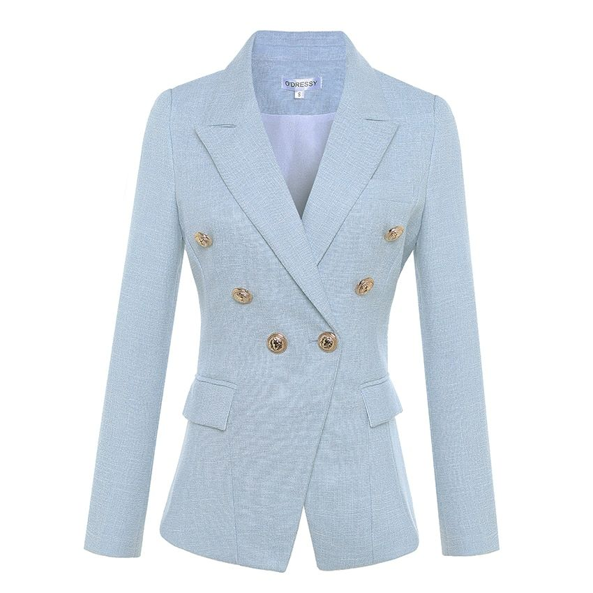 HIGH QUALITY Newest 2018 Designer Blazer Women's Long Sleeve Double Breasted Metal Lion Buttons Blazer Jacket Outer