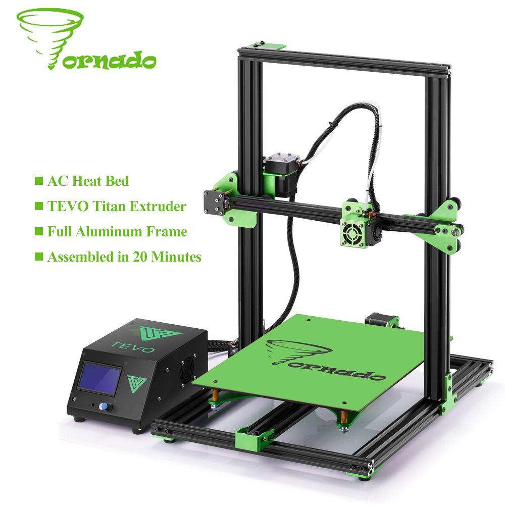 2017 TEVO Tornado 3D Imprimante Entièrement Assemblé En Aluminium D'extrusion 3D imprimantes Impresora 3d De Haute Précision Usb Avec Titan Extrudeuse