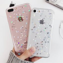 Caso de lujo del brillo de Bling para el iPhone 7 para el iPhone 8 7 6 6 s más 5 5S 5SE X cubierta trasera del silicón del corazón del amor Fundas para móviles