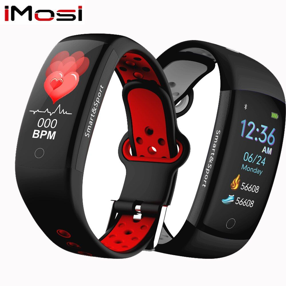 Q6S Smart Bracelet Blood Pressure Heart Rate Monitor Smartband Wristband Waterproof Sports Fitness Colors 3D dynamic Watch Band