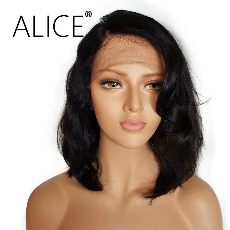 ALICE Short Glueless Lace Front Human Hair Wigs With Baby Hair 8 Inch to 16 Inch Brazilian Non Remy Wavy Bob Wigs Bleached Knots