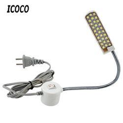 ICOCO coser portátil luz LED 2 W 30LED Base de montaje magnético Gooseneck lámpara para todos máquina de coser iluminación