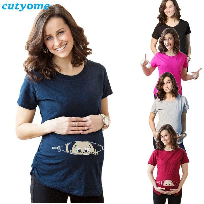 Для беременных хлопковые футболки с принтом для малышей короткий рукав Свободные топы женские футболка беременности Футболка для беременн...