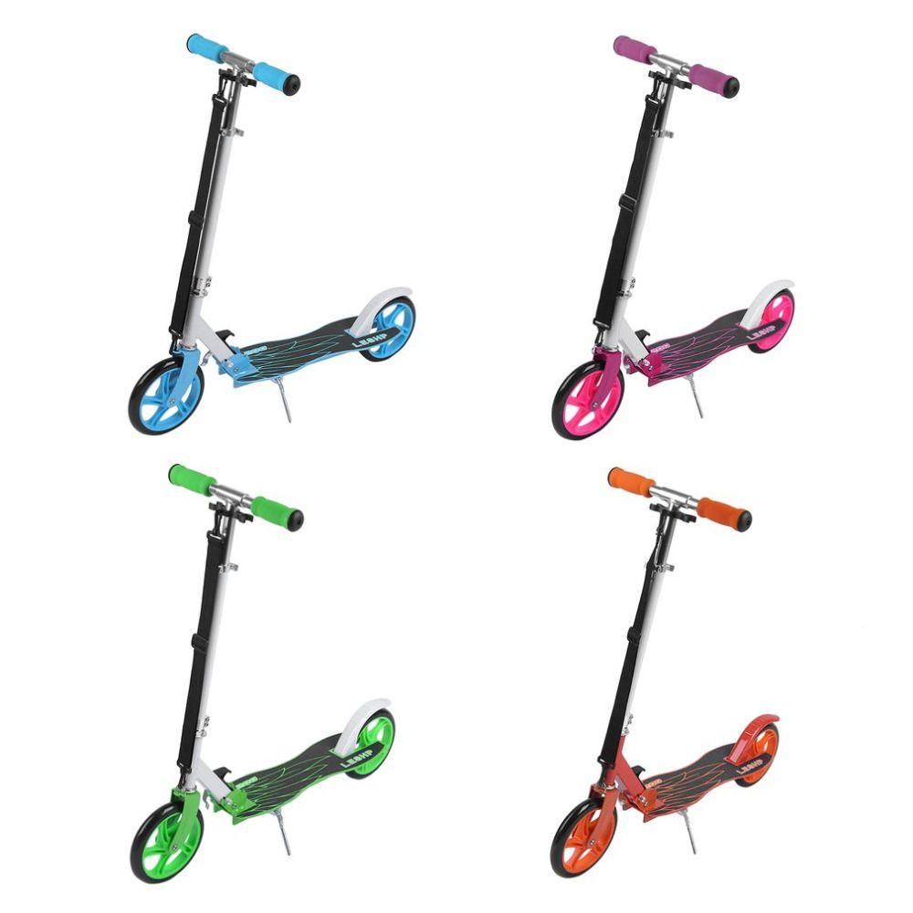 LESHP 200 MM Folding Höhenverstellbar Fuß Roller Zwei Runden Räder Außen Doppel Dämpfung Push Erwachsene Tretroller aus Russland