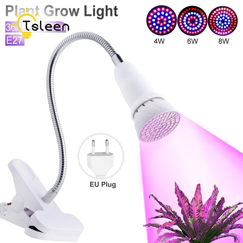 Barato 2 UNIDS = 1 Lámpara + 1 Clip Espectro Llevado Crece Luces 8 W 72LED Planta de Interior Crece La Luz Sistema de Cultivo Hidropónico E27 Lámparas de Flor