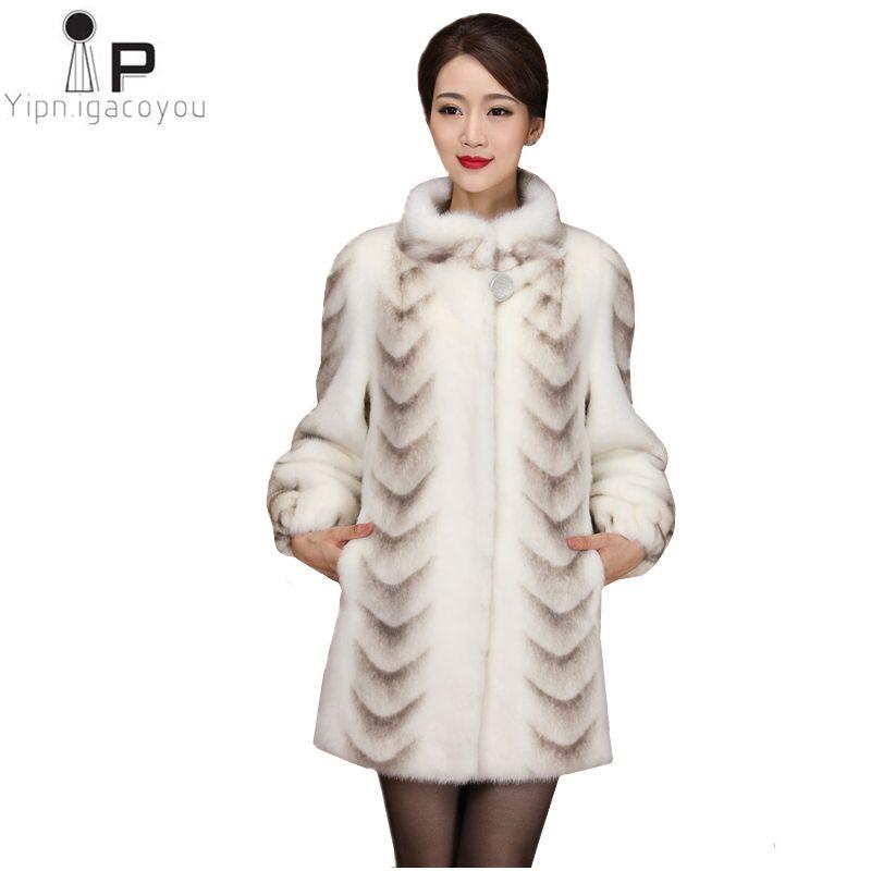 Winter Women Faux Fur Coat High Quality Mink Slim White Thick Warm Jacket Plus Size Ladies Coats Long The Fur Coats Overcoat 4XL