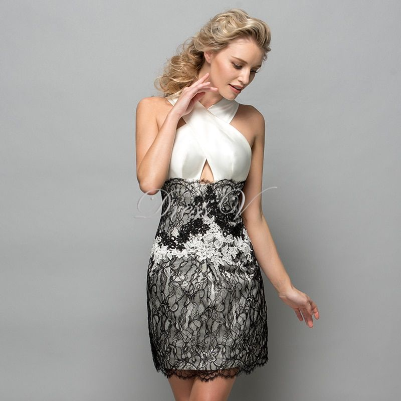 White And Black Lace Short Cocktail Dresses 2017 Criss-Cross Neck Applique Women Prom Dress Designer Formal Holiday Gown