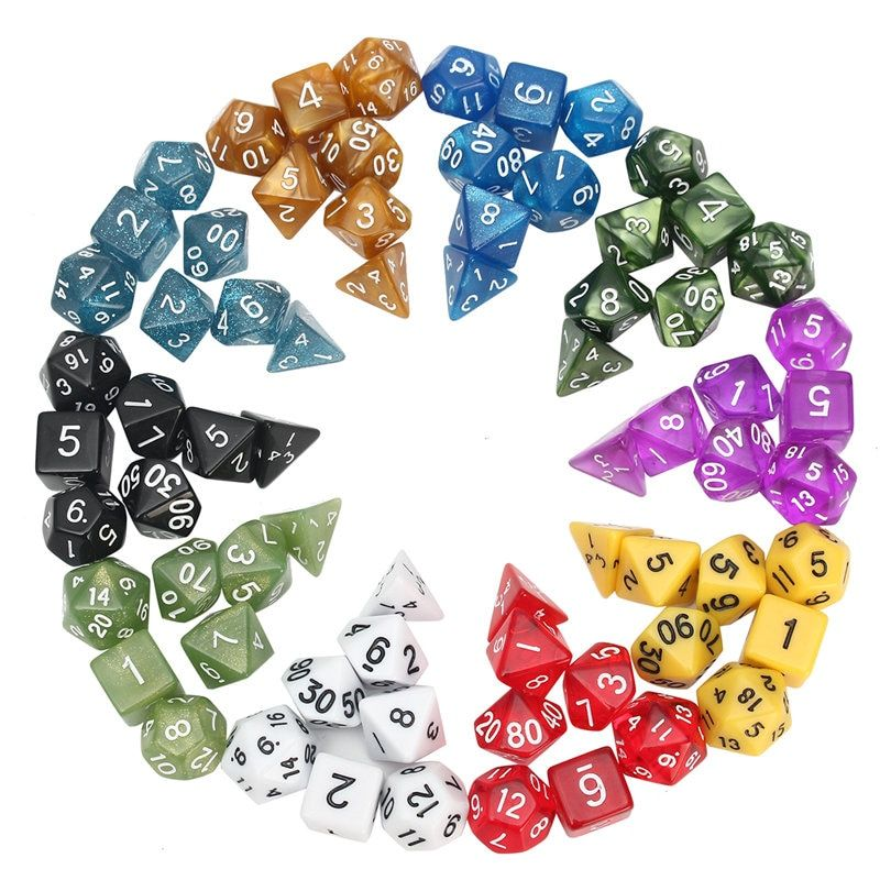 70pcs Polyhedral Dice 10 Sets For Dungeons And Dragons DND RPG MTG Board Games Dice 20 Set 4D 6D 8D 10D 12D 20D With Pouch Bags