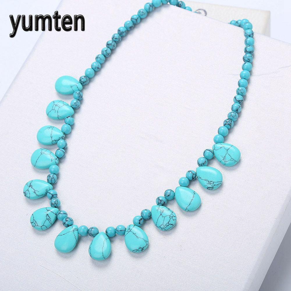 Yumten Turquoise Necklace Natural Crystal Power Stone Popular Women Bead Chain Fashion Water Drops Accessories Baltic Amber