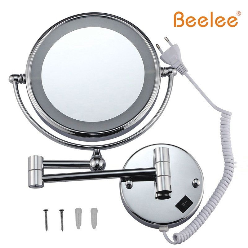 Beelee Furniture Mirror Wall Mounted Makeup Mirror Led Double Side 360-degree Swivel 8 Inch 5x Magnifier M1805 Light Mirror