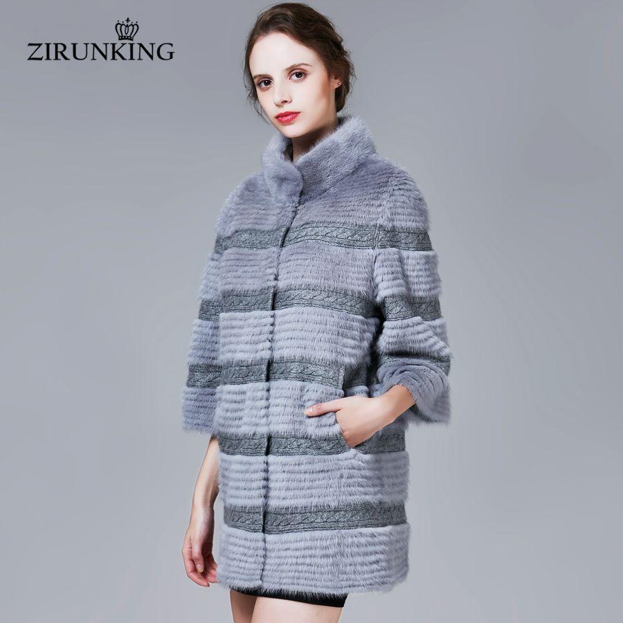 ZIRUNKING Weibliche Neue Real Nerz Mäntel Frauen Mode Echte Winter Pelz Jacke Frauen Qualität Mantel Kleidung ZC1705