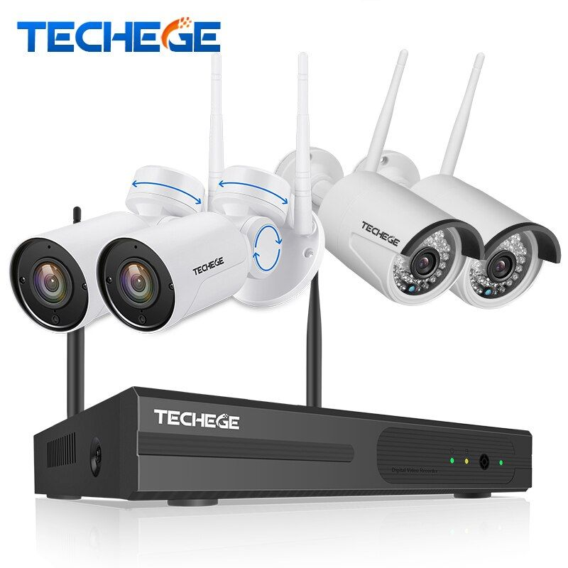 Techege 4CH Hybrid 1080P WiFi Security Camera System 4CH NVR KIT Outdoor Waterproof WiFi PT Camera Motion detect CCTV System