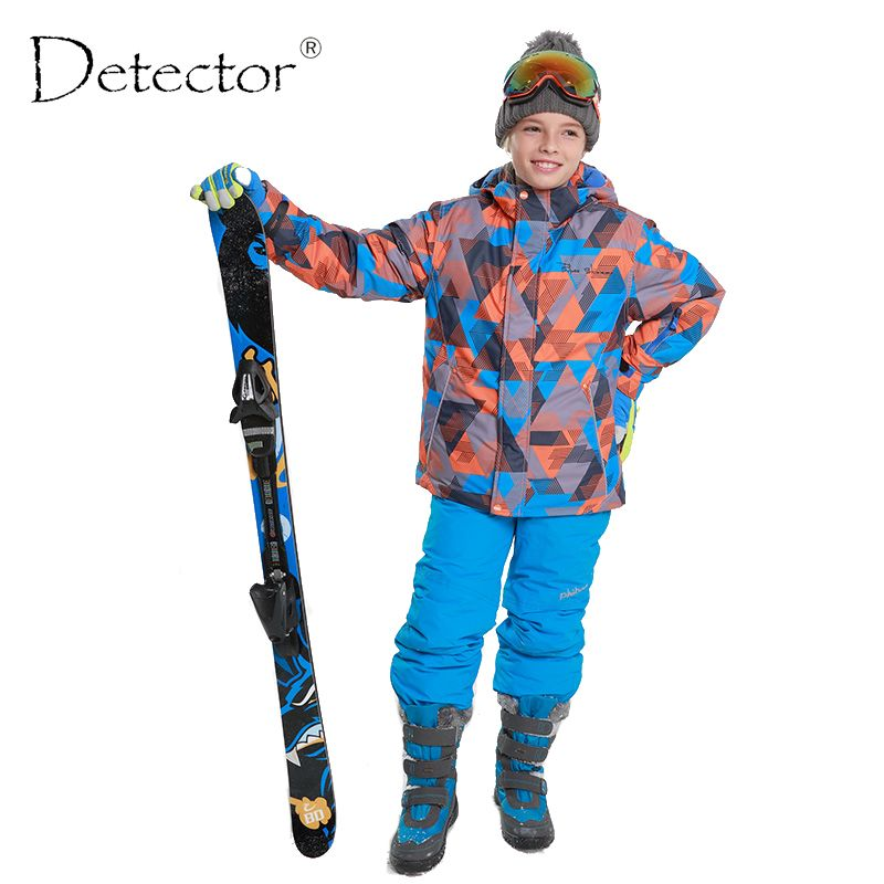 Detector Winter Thicken Boys Clothing Outdoor Set Snowboard Ski Set Jacket + Pants Winter Twinset Suitable -20-30 degree
