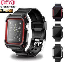 CRISTA Esporte strap Para apple watch band apple watch 4 3 caso banda iwatch 42mm/38mm 44mm 40mm correa pulseira capa Protetora