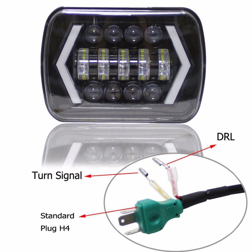 5x7 Inch Led Light Black Rectangular Headlight For Jeep Wrangler XJ MJ Truck 4x4 Arrow DRL Off Road 5