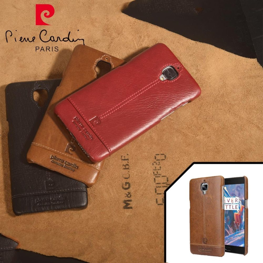 Pierre Cardin Genuine Leather Luxury Cell Phones Case For One Plus 3 Case Oneplus 3T Case Back Cover Free Shipping