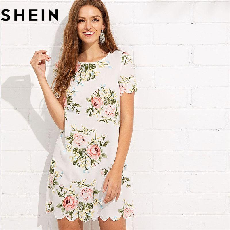 SHEIN Summer Straight Short Sleeve Floral Print Casual Mini Dresses 2018 Women Preppy Scalloped <font><b>Edge</b></font> Botanical Print Short Dress