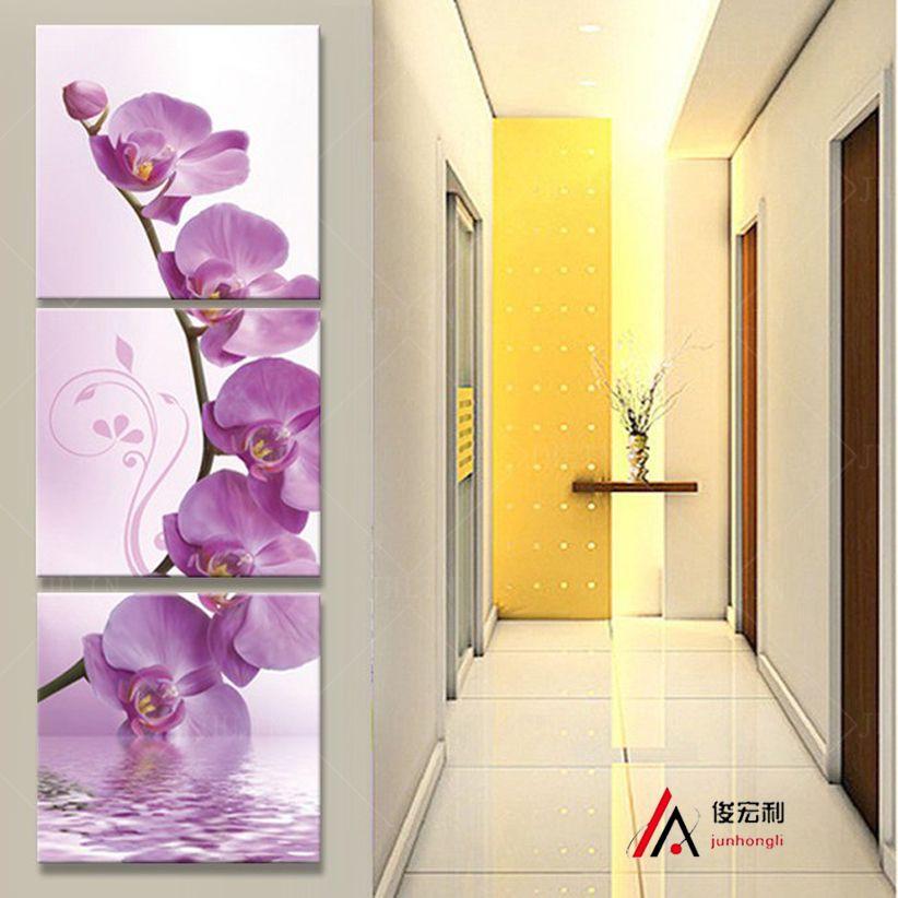 3 pièce art couloir sur le mur stéréoscopique orchidée toile peinture à l'huile impression salon sur le mur modulaire photos printd