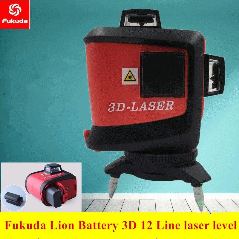 Fukuda12Lines León 3D 93 t nivel láser autonivelante 360 horizontal y vertical Cruz Super potente láser rojo línea de haz