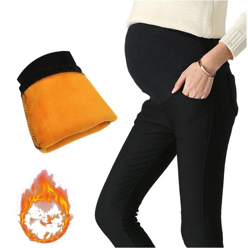 Invierno, además de terciopelo caliente de las mujeres embarazadas pantalones stretch pantalones de maternidad embarazadas ropa de mujer embarazada grossesse vetement misceláneas