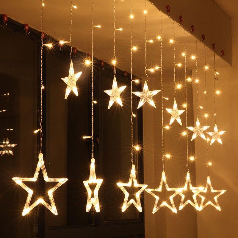 Meaningsfull 2 M Romantique Fée Étoiles Led Rideau Guirlande Lumineuse blanc Chaud EU220V De Noël Guirlande Lumineuse Pour la Fête De Mariage de Vacances déco